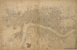 [A drawn map of London, Westminster and Southwark]